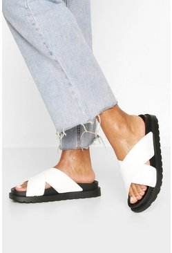 White Croc Cross Strap Footbed Sliders