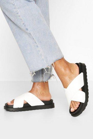 White Croc Cross Strap Footbed Sliders