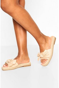 Bow Front Espadrille Sliders, Natural beis