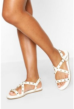 White Studded Rope Sandals