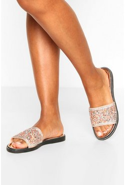 Rose gold metallic Embellished Sliders