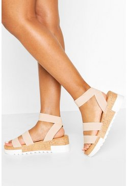 Nude Chunky Elastic Strap Flatforms