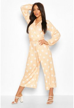 Peach orange Polka Dot Spot Wrap Culotte Jumpsuit