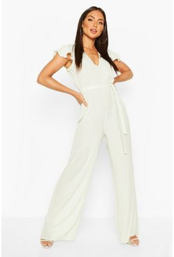 Sage green Chiffon Angel Sleeve Belted Woven Jumpsuit