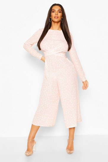 Blush pink Twist Front Polka Dot Jumpsuit