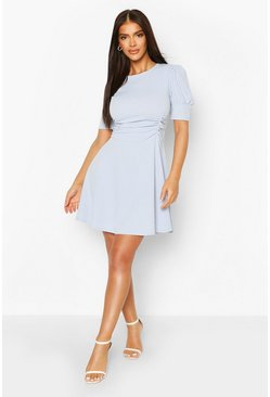 Powder blue blue Puff Sleeve Ruched Waist Skater Dress