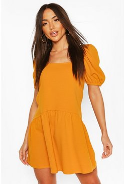 Mustard yellow Square Neck Smock Dress