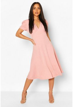 Blush pink Baby Doll Skater Midi Dress