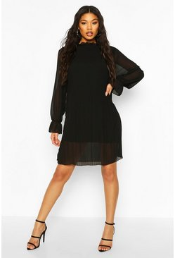 Black Ruched Neck Pleated Swing Dress