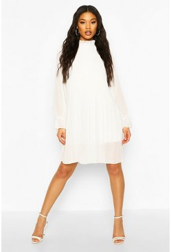 Ivory white Ruched Neck Pleated Swing Dress
