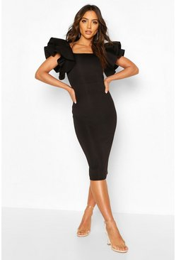 Black Bonded Scuba Ruffle Sleeve Midi Dress