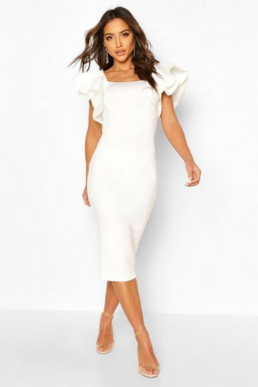 White Bonded Scuba Ruffle Sleeve Midi Dress