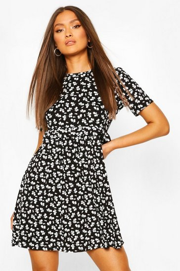 Black Ditsy Floral Smock Dress