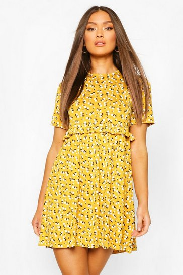 Mustard yellow Ditsy Floral Smock Dress