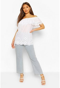 White Broderie Anglais Trim Bardot Top