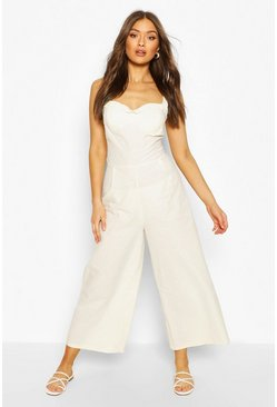 Ecru white Ruffle Sweetheart Linen Look Jumpsuit
