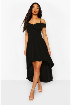 Black Sweetheart Strappy Drop Hem Skater Dress