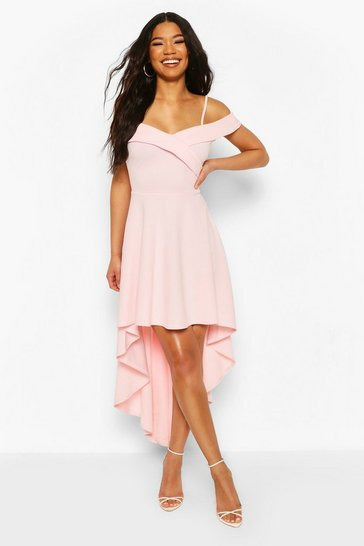 Pink Sweetheart Strappy Drop Hem Skater Dress