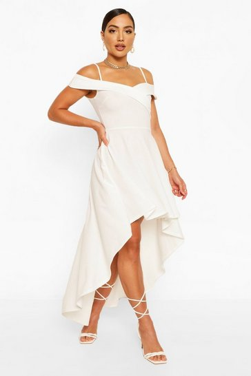 White Sweetheart Strappy Drop Hem Skater Dress