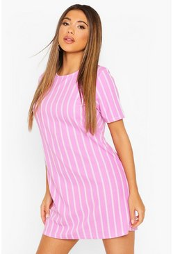 Lilac purple Pastel Short Sleeve Stripe Shift Dress
