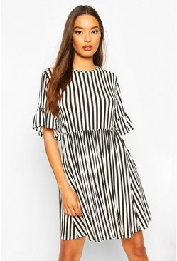 Black Stripe Ruffle Sleeve Smock Dress
