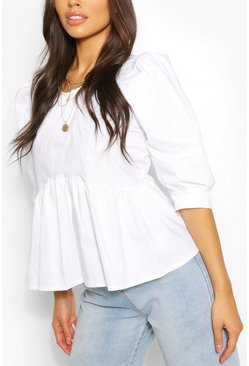 White Puff Sleeve Peplum Top