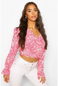 Pink Paisley Open Back Frill Detail Top