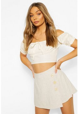 Ivory white Tie Detail Puff Sleeve Crop Top