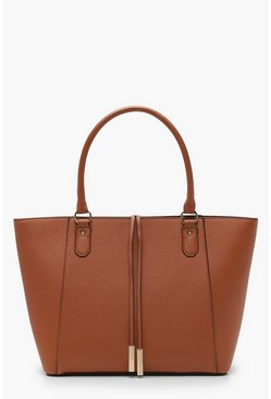 Tan brown Structured Cross Hatch Tote Bag