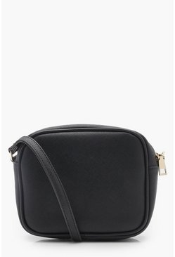 Black Zip Around Cross Body Bag