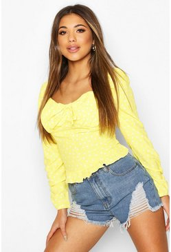Lemon yellow Polka Dot Tie Front Frill Detail Top