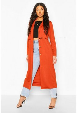 Terracotta orange Collared Button Through Jacket