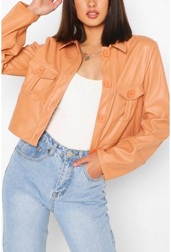 Peach orange Pu Pocket Front Boxy Jacket