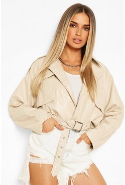 Stone Wide Sleeve Belted Pu Jacket