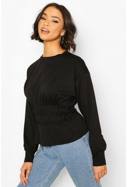Black Deep Shirred Waist Sweat Top