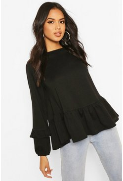 Black Smock Sweat Top