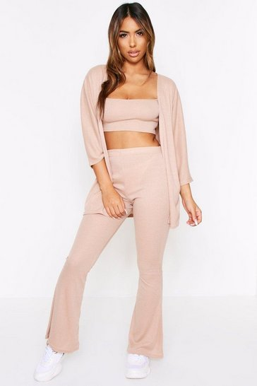 Stone beige Ribbed Strappy Crop Top & Wide Leg Cardigan Set