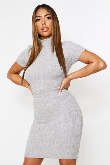 Grey Knitted Ribbed Mini Skirt