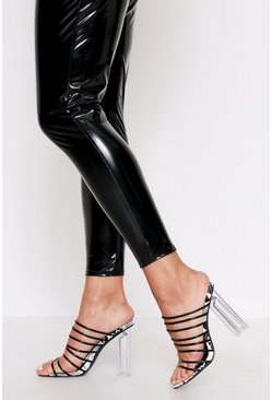 Black Strappy Snake Embossed Heel Mule