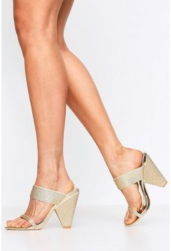 Gold metallic Diamante Embellished Cone Mules