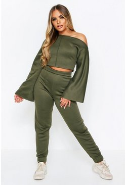 Khaki Slash Neck Lounge Set