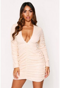Nude Sequin Ruched Sleeve Plunge Dress