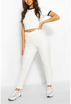 White Towelling Sport Crop Lounge Set