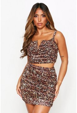 V Bar Ruched Co Ord, Leopard
