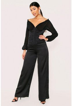 Black Satin Shirred Bardot Jumpsuit