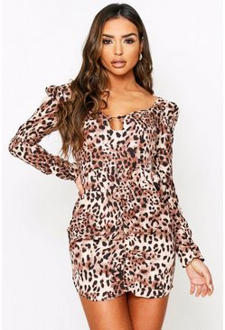 Animal print keyhole dress