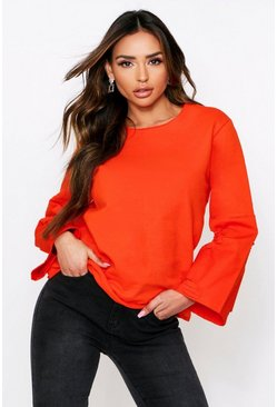 Orange Denim Panel Sleeve Sweater