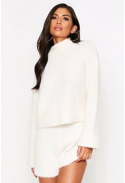 Cream white Turtle Neck Fluffy Knitted Short Lounge Set