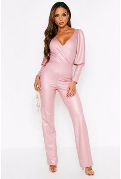 Rose pink Wetlook Puff Shoulder Plunge Jumpsuit
