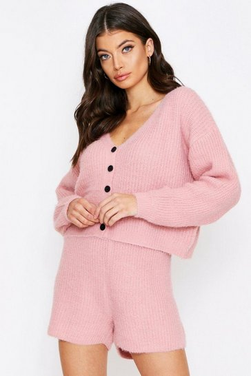 Dusty rose pink Fluffy Knit Button Front Shorts Lounge Set